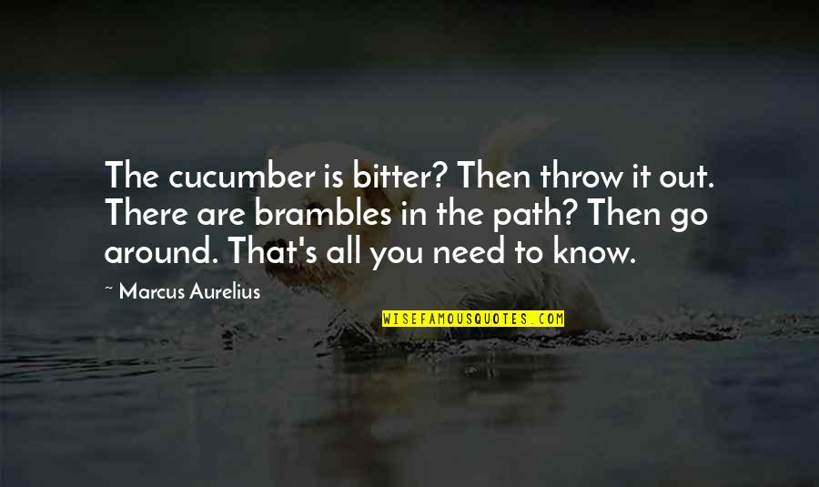 Raffie Quotes By Marcus Aurelius: The cucumber is bitter? Then throw it out.