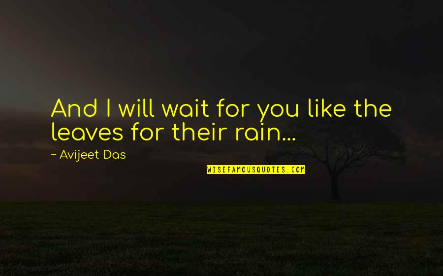 Rain And Leaves Quotes By Avijeet Das: And I will wait for you like the
