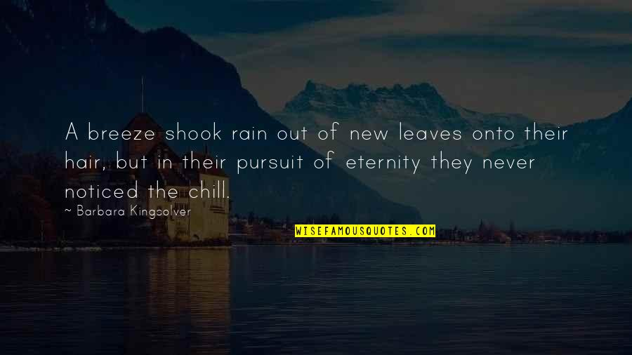 Rain And Leaves Quotes By Barbara Kingsolver: A breeze shook rain out of new leaves