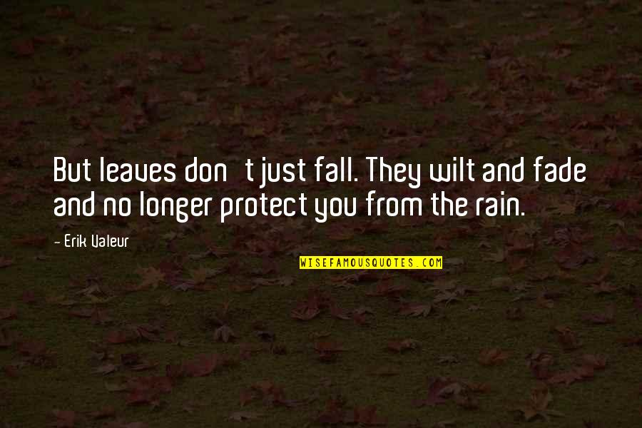 Rain And Leaves Quotes By Erik Valeur: But leaves don't just fall. They wilt and