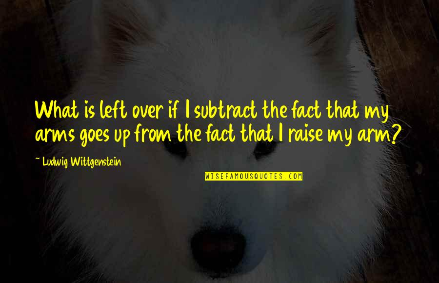 Raise Up Quotes By Ludwig Wittgenstein: What is left over if I subtract the