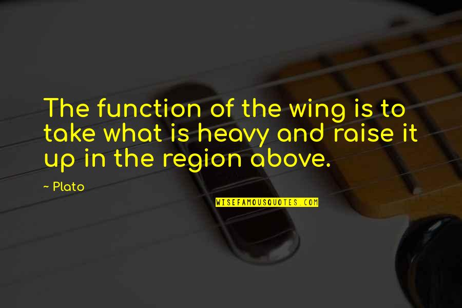 Raise Up Quotes By Plato: The function of the wing is to take