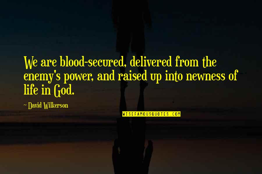 Raised Up Quotes By David Wilkerson: We are blood-secured, delivered from the enemy's power,