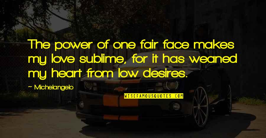 Raisons Quotes By Michelangelo: The power of one fair face makes my