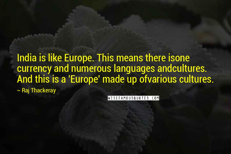 Raj Thackeray quotes: India is like Europe. This means there isone currency and numerous languages andcultures. And this is a 'Europe' made up ofvarious cultures.