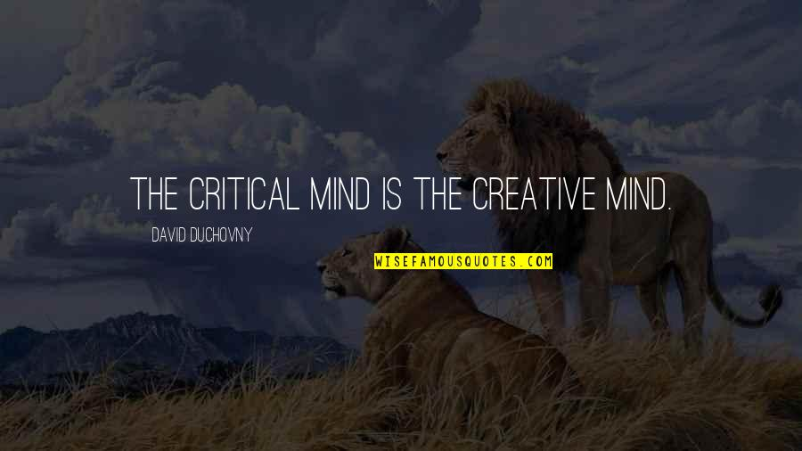 Raja Ravi Verma Quotes By David Duchovny: The critical mind is the creative mind.