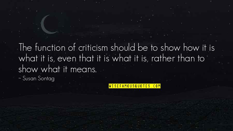 Ralph Acampora Quotes By Susan Sontag: The function of criticism should be to show