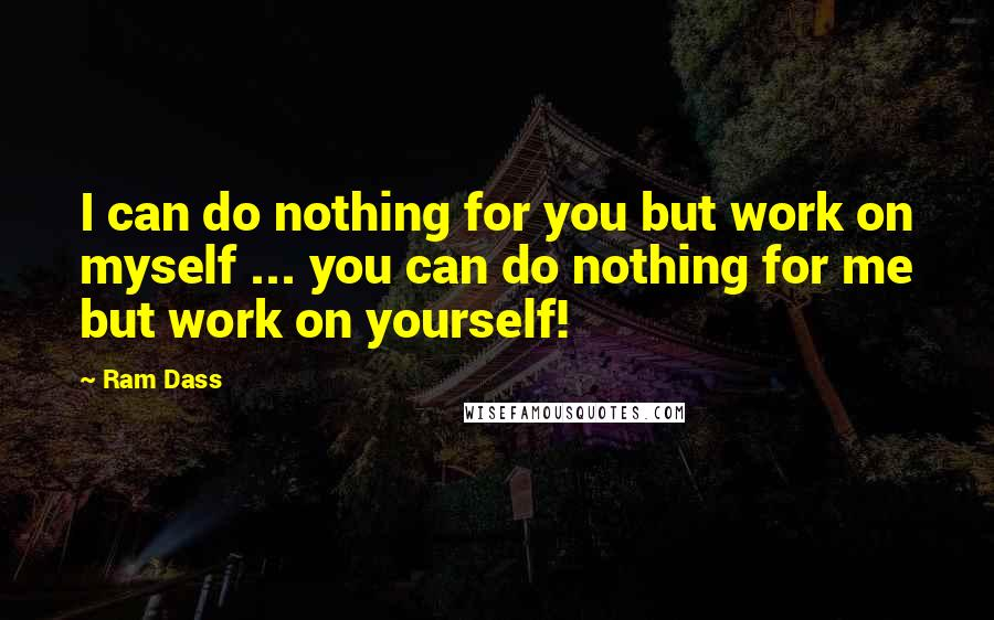 Ram Dass quotes: I can do nothing for you but work on myself ... you can do nothing for me but work on yourself!