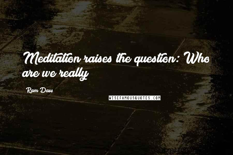 Ram Dass quotes: Meditation raises the question: Who are we really?