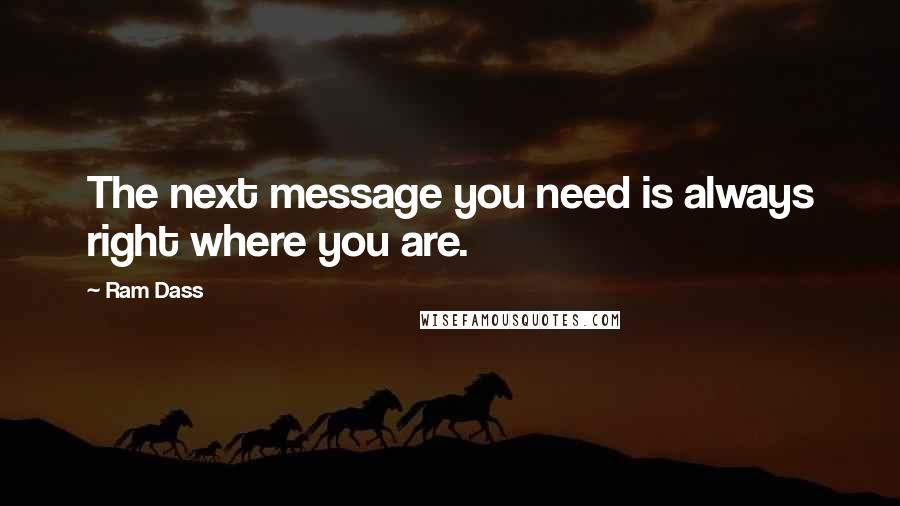 Ram Dass quotes: The next message you need is always right where you are.