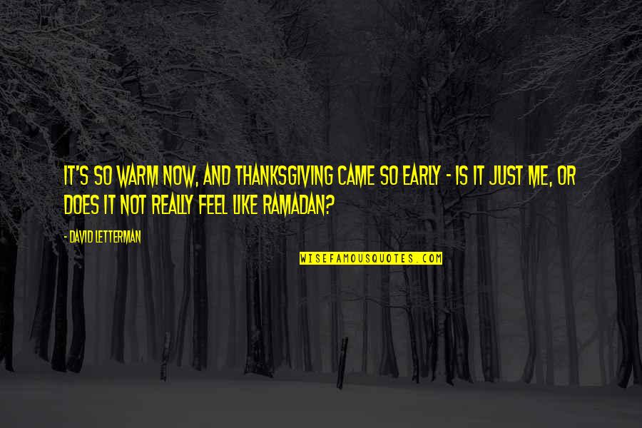 Ramadan Quotes By David Letterman: It's so warm now, and Thanksgiving came so