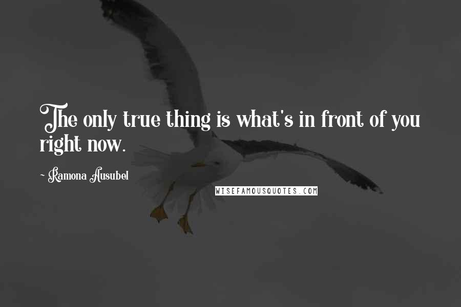 Ramona Ausubel quotes: The only true thing is what's in front of you right now.