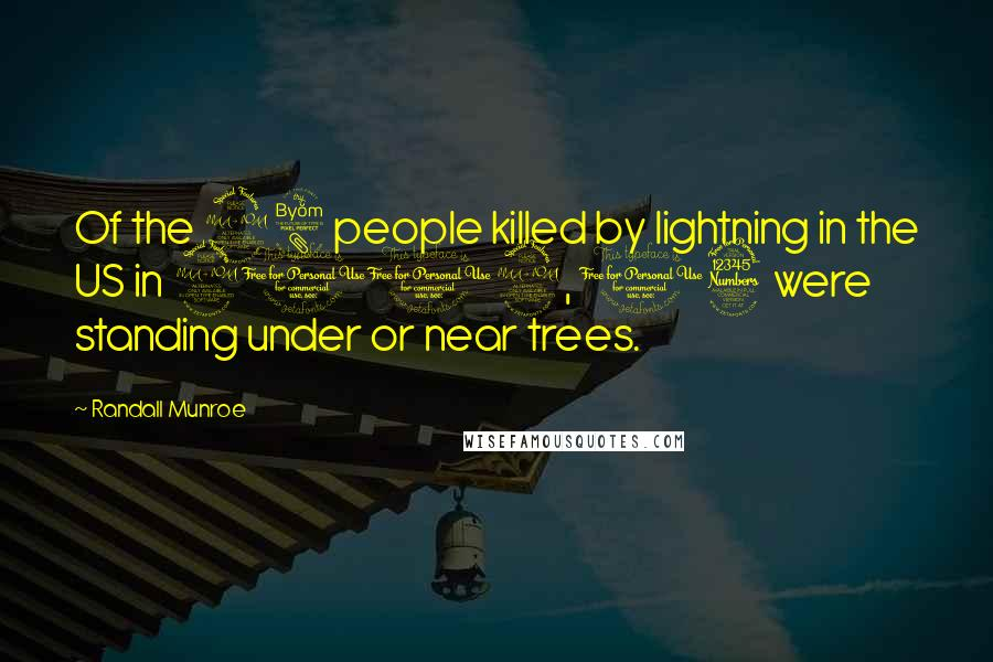 Randall Munroe quotes: Of the 28 people killed by lightning in the US in 2012, 13 were standing under or near trees.