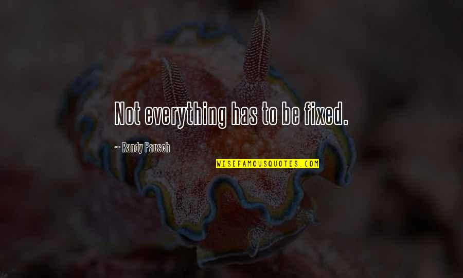 Randy Pausch Quotes By Randy Pausch: Not everything has to be fixed.