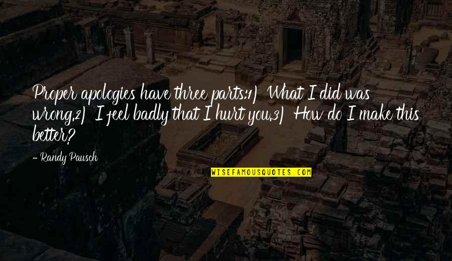 Randy Pausch Quotes By Randy Pausch: Proper apologies have three parts:1) What I did