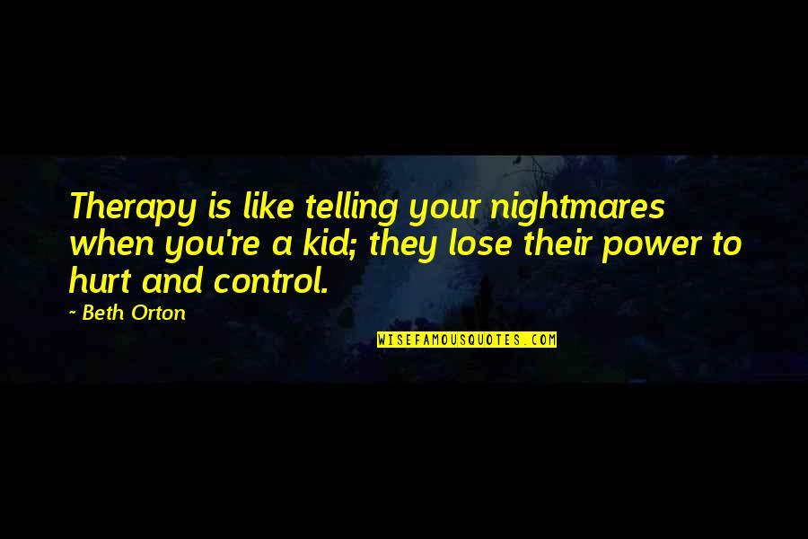 Ranger Manoso Quotes By Beth Orton: Therapy is like telling your nightmares when you're