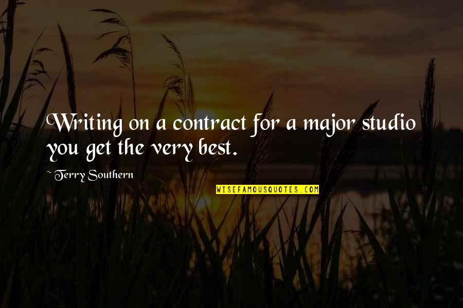 Rape Victim Tattoo Quotes By Terry Southern: Writing on a contract for a major studio