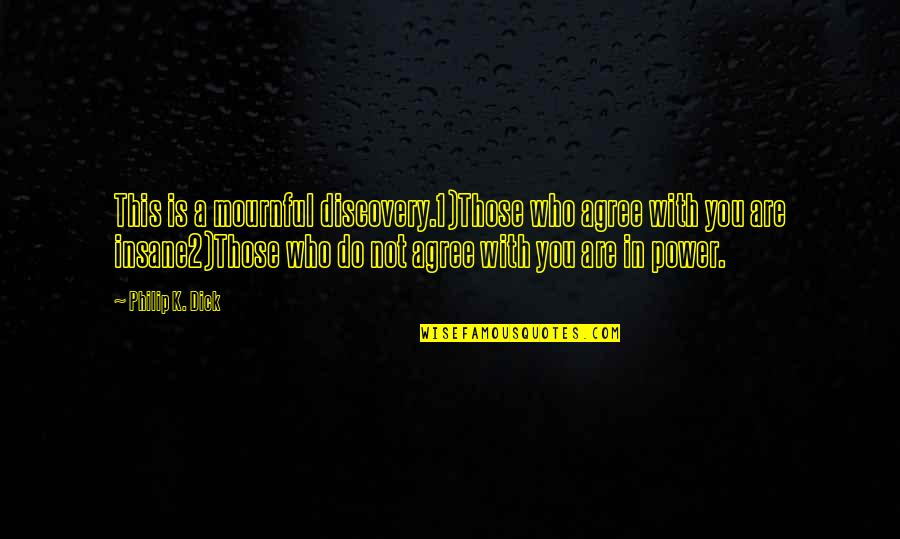 Rapheal Quotes By Philip K. Dick: This is a mournful discovery.1)Those who agree with