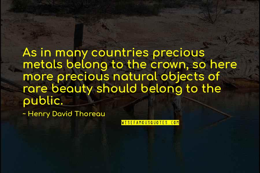 Rare And Precious Quotes By Henry David Thoreau: As in many countries precious metals belong to