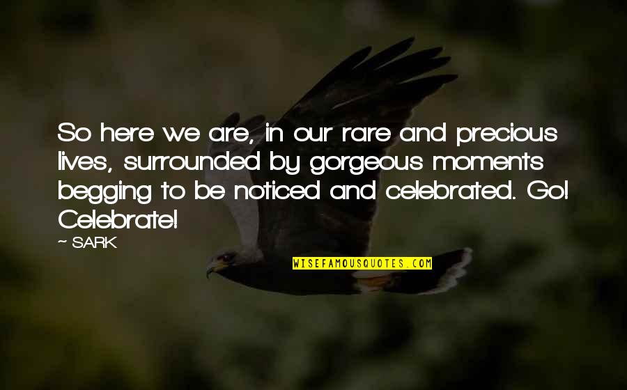 Rare And Precious Quotes By SARK: So here we are, in our rare and