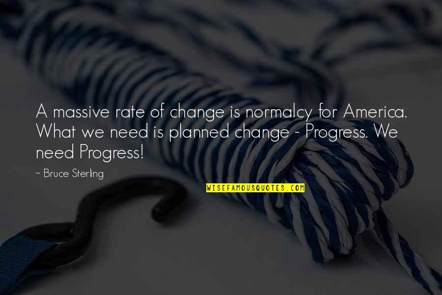 Rate Of Change Quotes By Bruce Sterling: A massive rate of change is normalcy for