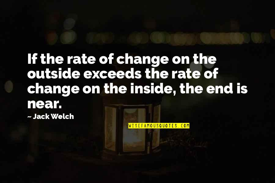 Rate Of Change Quotes By Jack Welch: If the rate of change on the outside