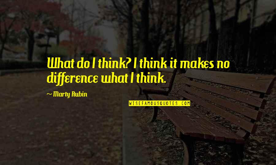 Rationalists Quotes By Marty Rubin: What do I think? I think it makes