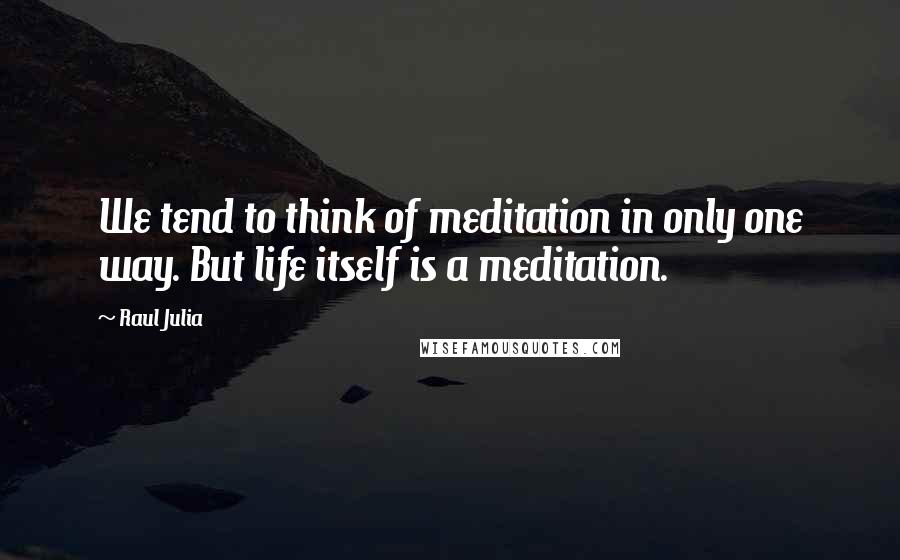 Raul Julia quotes: We tend to think of meditation in only one way. But life itself is a meditation.
