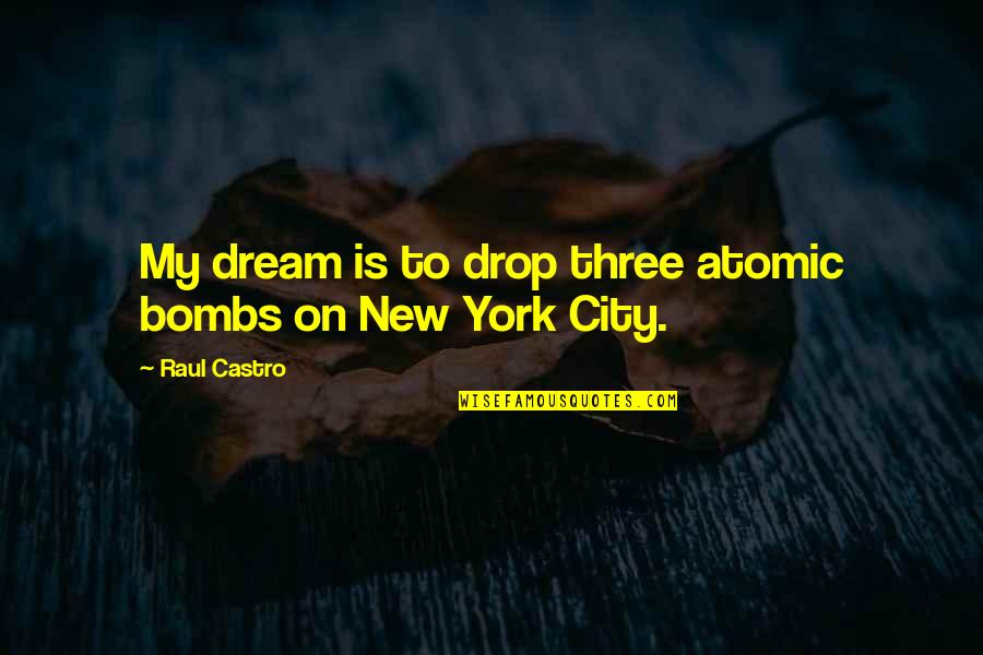 Raul Quotes By Raul Castro: My dream is to drop three atomic bombs