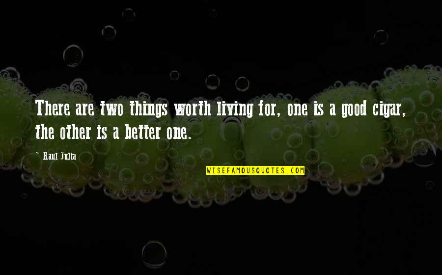 Raul Quotes By Raul Julia: There are two things worth living for, one