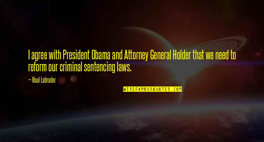 Raul Quotes By Raul Labrador: I agree with President Obama and Attorney General