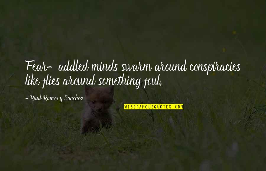 Raul Quotes By Raul Ramos Y Sanchez: Fear-addled minds swarm around conspiracies like flies around