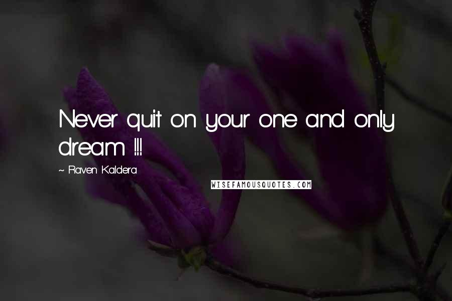 Raven Kaldera quotes: Never quit on your one and only dream !!!