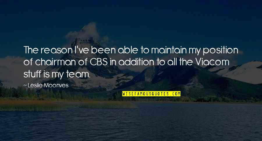 Raymond Damadian Quotes By Leslie Moonves: The reason I've been able to maintain my
