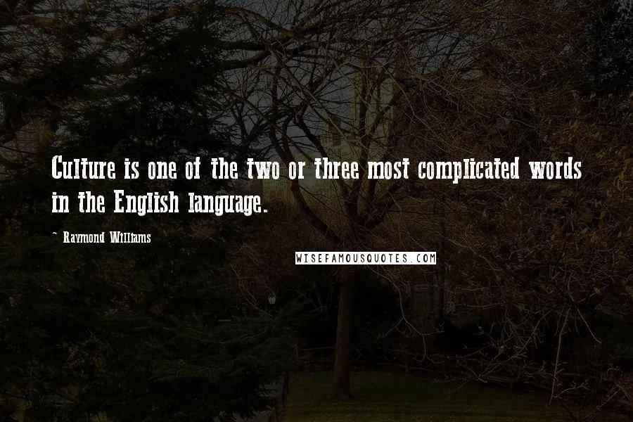 Raymond Williams quotes: Culture is one of the two or three most complicated words in the English language.