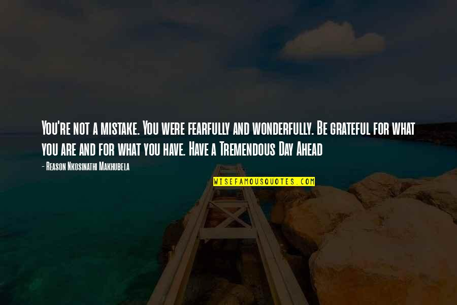 Re 3 Quotes By Reason Nkosinathi Makhubela: You're not a mistake. You were fearfully and