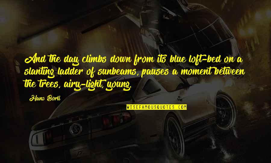 Reach Out Together Quotes By Hans Borli: And the day climbs down from its blue