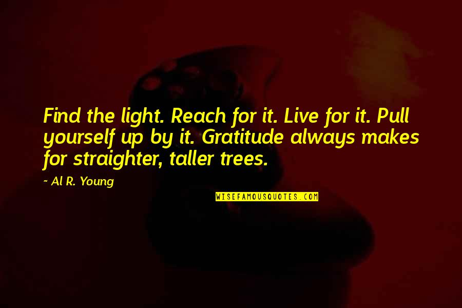 Reach Up Quotes By Al R. Young: Find the light. Reach for it. Live for