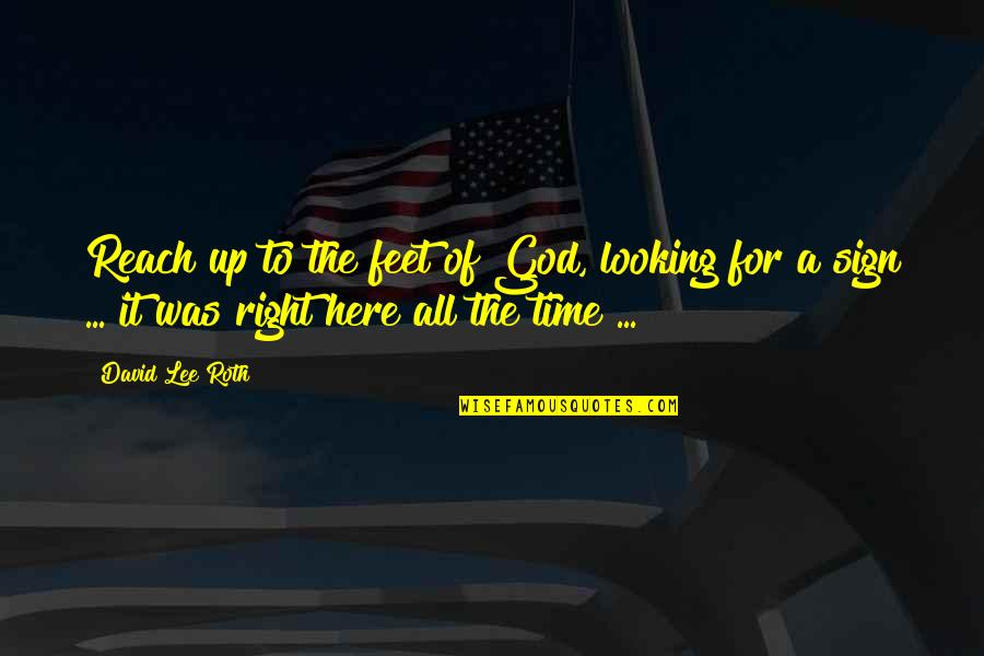 Reach Up Quotes By David Lee Roth: Reach up to the feet of God, looking
