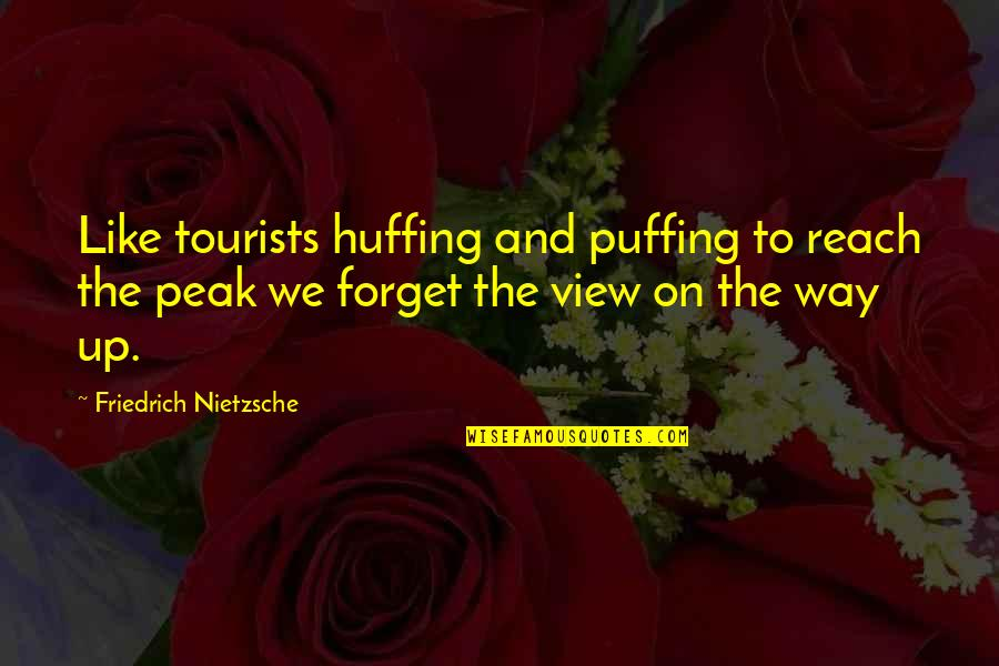 Reach Up Quotes By Friedrich Nietzsche: Like tourists huffing and puffing to reach the