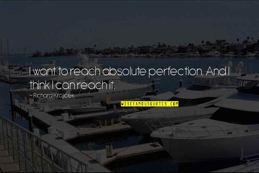 Reach'd Quotes By Richard Krajicek: I want to reach absolute perfection. And I