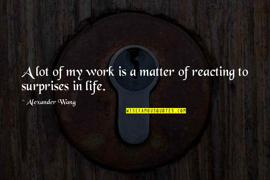 Reacting Quotes By Alexander Wang: A lot of my work is a matter
