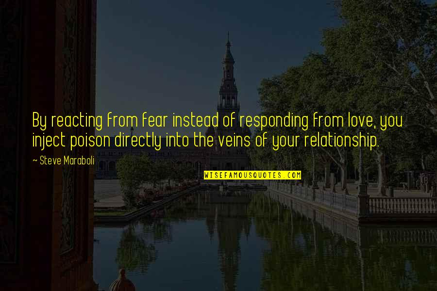 Reacting Quotes By Steve Maraboli: By reacting from fear instead of responding from