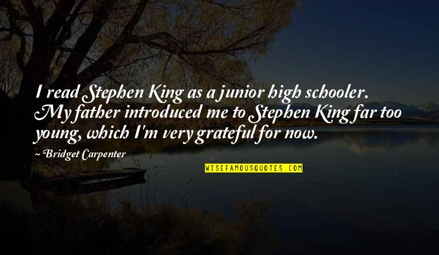 Read To Me Quotes By Bridget Carpenter: I read Stephen King as a junior high