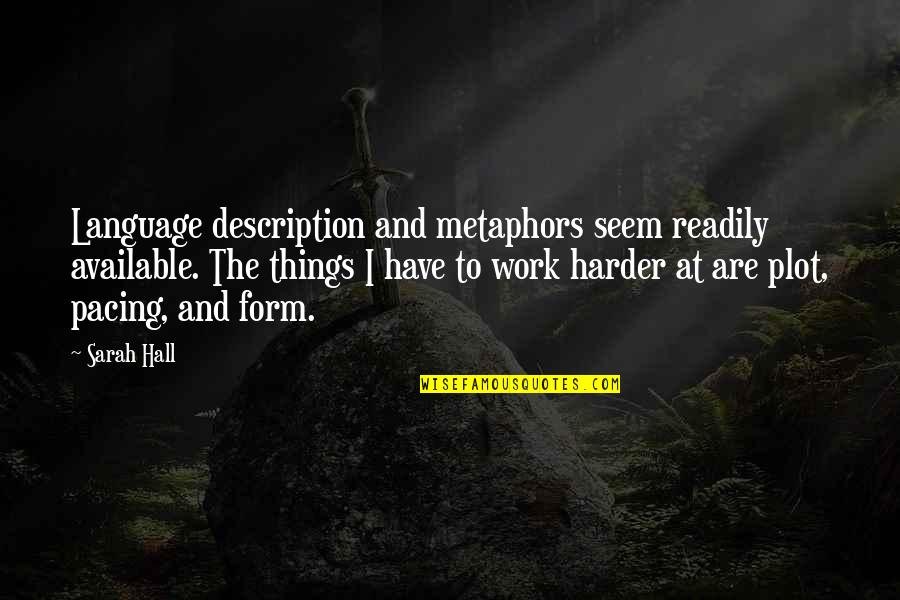 Readily Quotes By Sarah Hall: Language description and metaphors seem readily available. The