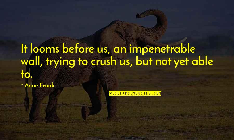 Reading Books Pinterest Quotes By Anne Frank: It looms before us, an impenetrable wall, trying
