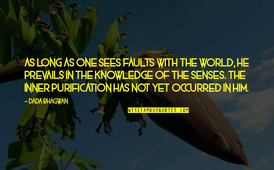 Realisation Quotes By Dada Bhagwan: As long as one sees faults with the