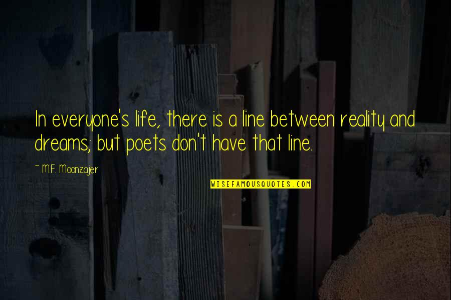 Reality And Dreams Quotes By M.F. Moonzajer: In everyone's life, there is a line between