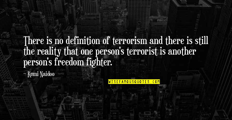 Reality And Quotes By Kumi Naidoo: There is no definition of terrorism and there