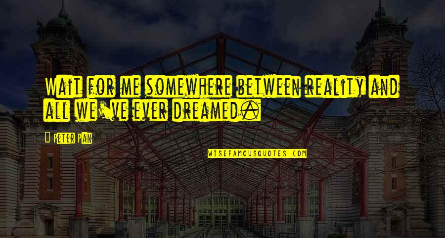 Reality And Quotes By Peter Pan: Wait for me somewhere between reality and all